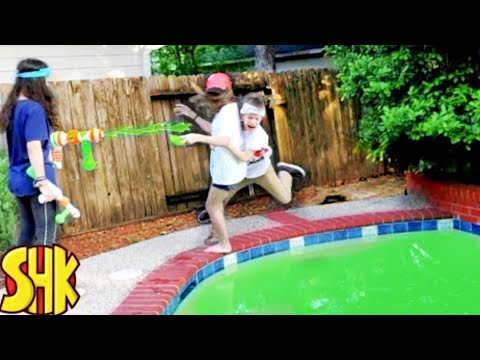 SuperHeroKids Giant Mind Control Slime Nerf Battle!   Funny Family Videos Compilation